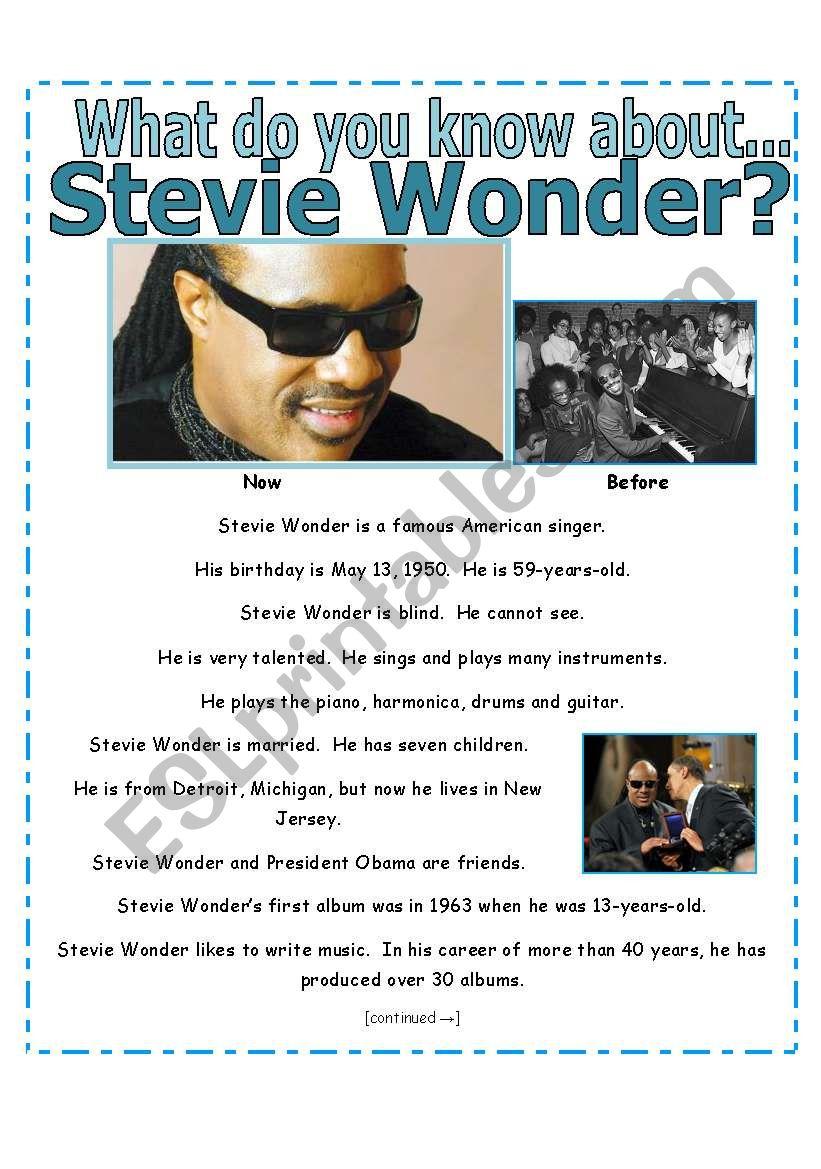 READING + SIMPLE EXERCISES : What do you know about Stevie Wonder? [3 pages with key]